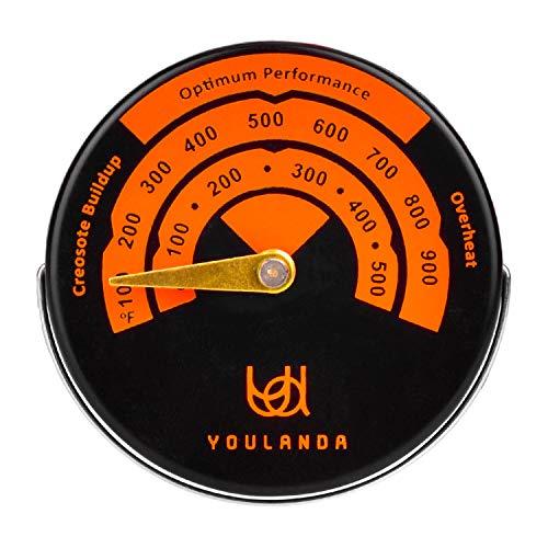 Estufa de leña Estufa de termómetro, medidor termómetro para estufas de madera (Top, FLUES, Stovepipe Termómetro Medidas...