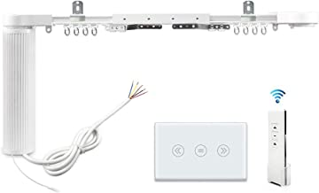 Smart Motorized Slide Shade Motor with Electric Curtain Tracks and Wall Switch easy assembly Support Voice Control by Alexa Google Home Customized App Control (5.2M+switch)