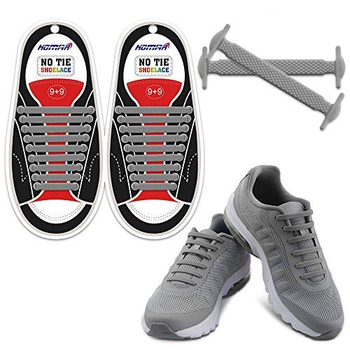 HOMAR Wasserdichtes Sport Shoelaces - Best in Alternative Shoelaces - Schnürsenkel Keine Krawatte Schnürsenkel Ersatz für Erwachsene - Grau