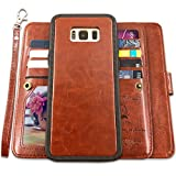 Galaxy S8 Cases,Magnetic Detachable Lanyard Wallet Case with [8 Card Slots+1 Photo Window][Kickstand] for Galaxy S8-5.8 inch, CASEOWL 2 in 1 Premium Leather Removable TPU Case(Brown)