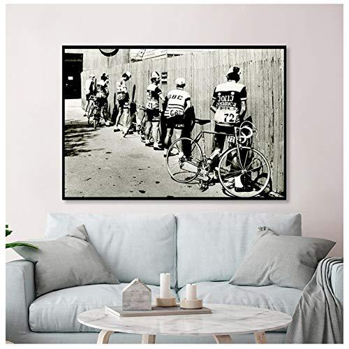 JinYiGlobal Art Mural Noir et Blanc vélo Cycliste...