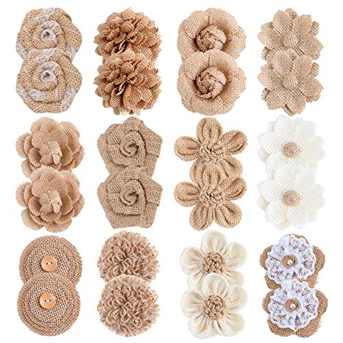 APICCRED 24PCS Burlap Flowers for Crafts 12Styles Natural Handmade Rustic Rose Flower for Burlap Decoration DIY Craft Bouquets Home Wedding Christmas Party Decoration