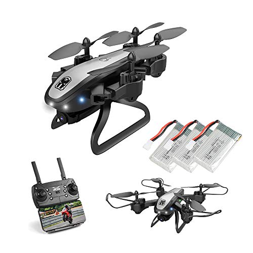 PWTAO Drone with Camera 4K Foldable RC Quadcopters, Real-time Video Feed, Great Drone for Beginners, Quadcopter Drone with Altitude Hold, One-Key Take-Off Come with 3 Batteriers