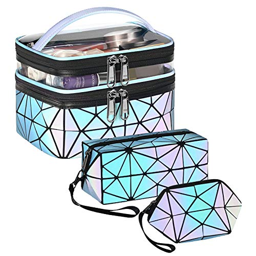 3Pcs Cosmetic Bags for Women, Luminous Geometric Travel Cosmetic Bags, Multifunctional Holographic Portable Makeup Bags Set, Travel Cosmetic Bag Organizer for Women