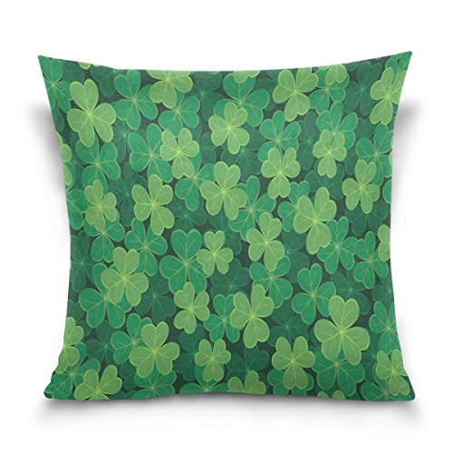 But why miss Throw Pillow Case Decorative Cushion Cover Square Pillowcase, Happy St. Patrick's Day Green Clover Shamrock Leaves Sofa Bed Pillow Case Cover(18x18inch) Twin Sides