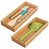 mDesign Set da 2 Portaposate da cassetto – Divisore cassetto modulare per argenteria e utensili da cucina – Organizer per posate in bambù – marrone chiaro