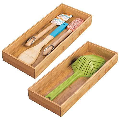 mDesign - Lade-organizer voor keukenkastje/lade - brede stapelbare bakjes - milieuvriendelijk/multifunctioneel - bamboe Te gebruiken in lades, voorraadkast of op aanrechtbladen, schappen - natuurlijk lichtgekleurd hout -