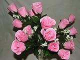 A1-Homes - Bouquet 18 Boutons de Rose Artificiel avec Feuillage pour Décoration Mariage Anniversaire Tombe Maison