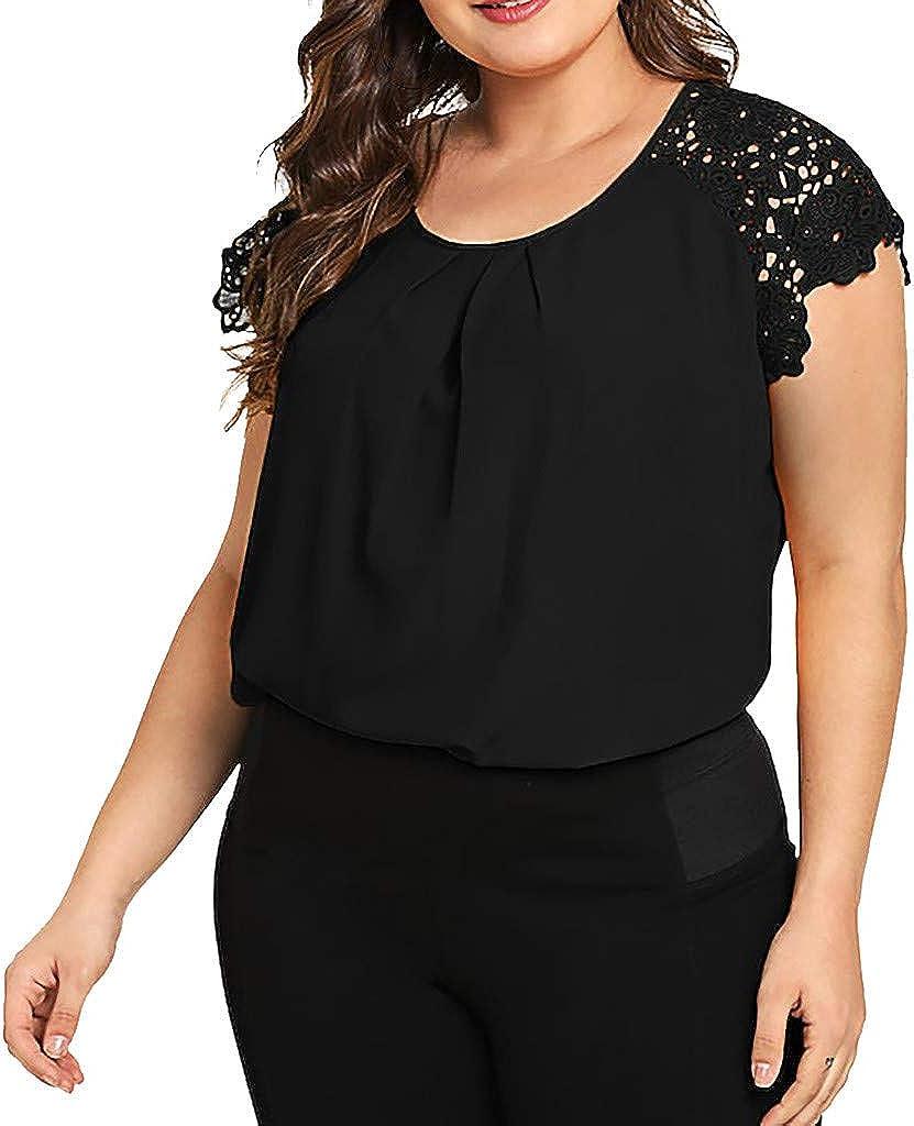 POLP Camiseta de Tirantes de Encaje Mujer Traje de Gordo Tank Tops de sin Mangas de Fiesta Camisola Casual Fiesta T-Shirt Talla Grande Blusa con ...