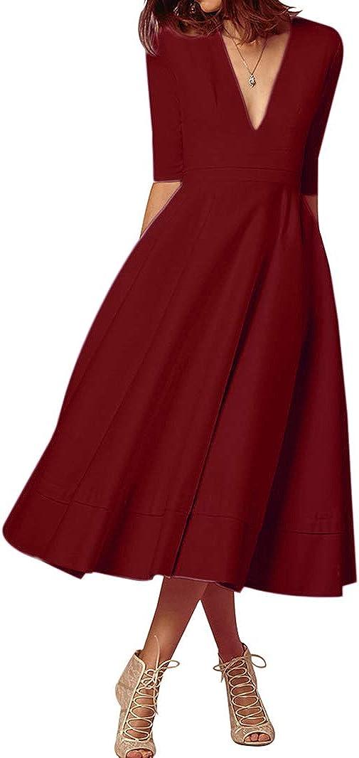 BOFETA Womens Deep V Neck Cocktail Elegant Dress Half Sleeve Vintage Solid Dress S-3X
