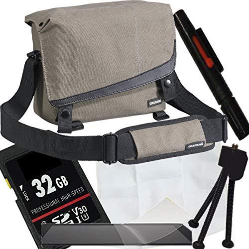 1A PHOTO PORST Set per Canon EOS M200+obiettivo:custodia beige+pellicola protettiva display+SD 32 GB+panno in microfibra+penna per la pulizia+treppiede