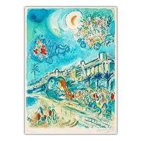 シュルレアリスムポスターマルクシャガール《花のカーナバル》キャンバス油絵抽象壁アートパネル水彩画リビングルーム寝室の装飾40x60cmフレームなし