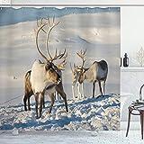ABAKUHAUS Winter Duschvorhang, Rentiere Norwegen Caribou, Leicht zu pflegener Stoff mit 12 Haken Wasserdicht Farbfest Bakterie Resistent, 175 x 200 cm, Braun Elfenbein Blau