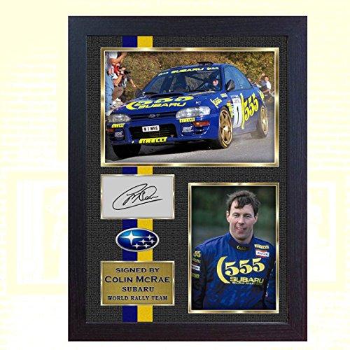 S&E DESING Colin McRae Subaru World Rally Team Signed Autograph Foto, gerahmt