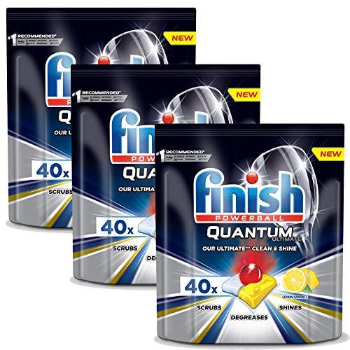 Spülmaschinentabs Finish Quantum Ultimate Lemon 120 Stück - Powerball - Kraftvolle Reinigung, Fettlösekraft und Glanz - Finish Tabs 120 Stück
