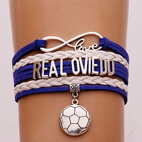 VIOY Brazalete de Tejido Real Oviedo Fútbol Equipo Colgante Brazalete Regalo Fan Amigos,Oviedo,Un tamaño