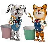 Par de macetas de metal para jardín con diseño de gato y perro (macetas, mascotas)