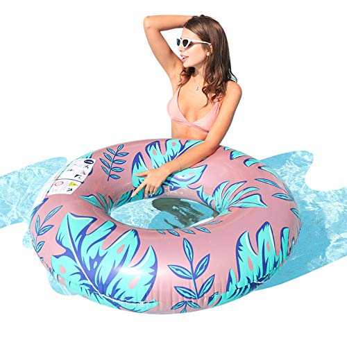 AirMyFun Tropical Plants Swim Ring Summer Outdoor Beach Party Playing Decoration Tropical Leaves Water Rafts Foam Inner Tube Toy for Adults
