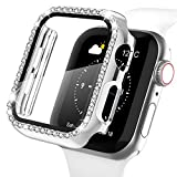 Recoppa Apple Watch Case with Screen Protector for Apple Watch 38mm Series 3/2/1, Bling Crystal Diamond Rhinestone Ultra-Thin Bumper Full Cover Protective Case for Women Girls iWatch Silver