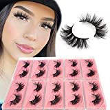 BEEOS 3D Mink Eyelashes Wholesale 10 Pairs, 20mm Middle Long Fluffy Full Volume False Eyelashes Reusable Lightweight Real Siberian Mink Lashes for Daily Use Natural Look False Lashes (E11/10 Pairs)