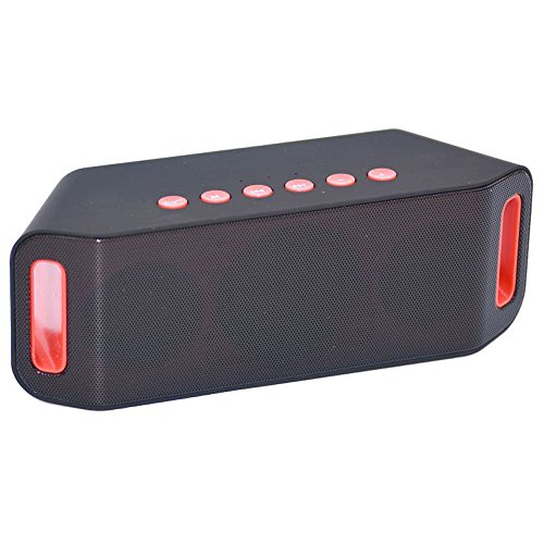 powered wireless speakers Kiko Stereo Deep Bass Loud Battery Powered Portable Bluetooth Wireless Speakers with Built-in MIC USB TF Card Slot, Lightweight for Car Home Party Bike Outdoor Sport Travel, Black