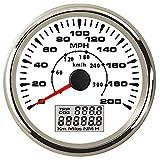 TONGDAUR 85mm GPS Velocímetro Medidor 200 mph Viaje Contador cuentakilómetros de Coches de Carreras de Motos 9-32V (Color : 200MPH WS, Size : Gratis)