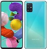 Samsung Galaxy A51 (128GB, 4GB) 6.5', 48MP Quad Camera, Dual SIM GSM ONLY Unlocked A515F/DS- US + Global 4G LTE International Model (Prism Crush Blue, 64GB SD + Case Bundle)