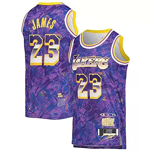 ASDX Los Angeles Lakers Lebron James #23 Camiseta De Baloncesto para Hombre En MVP Special Edition,Bordada Camiseta Transpirable De Malla Basketball Jersey Purple-S