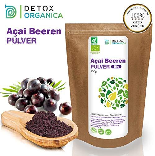 DetoxOrganica Acai Pulver BIO // 100g Gefriergetrocknet aus Brasilien // Aҫai Beeren // Organic Acai Berry Powder // Freeze Dried