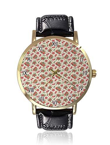 Vintage Style Illustration von Reifen Granatapfel Blätter Blattwerk Botanie Deko Bild Damen Armbanduhr Sport Armbanduhr Damen Freizeit Armbanduhr