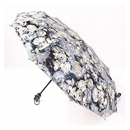 Paraguas Impermeable Paraguas Paraguas Compacto Plegable Paraguas Inverso-un Botón para Las Mujeres Abiertas Y Cercanas Unmbrella (Color : White)