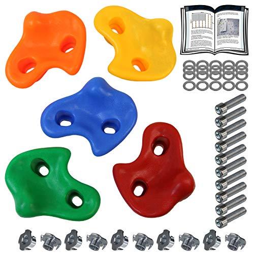 ALPIDEX Kinder Klettergriffe Klettersteine , belastbar bis 200 kg , inklusive Befestigungsmaterial, Verschiedene Stückzahlen bunt - 5 Stück