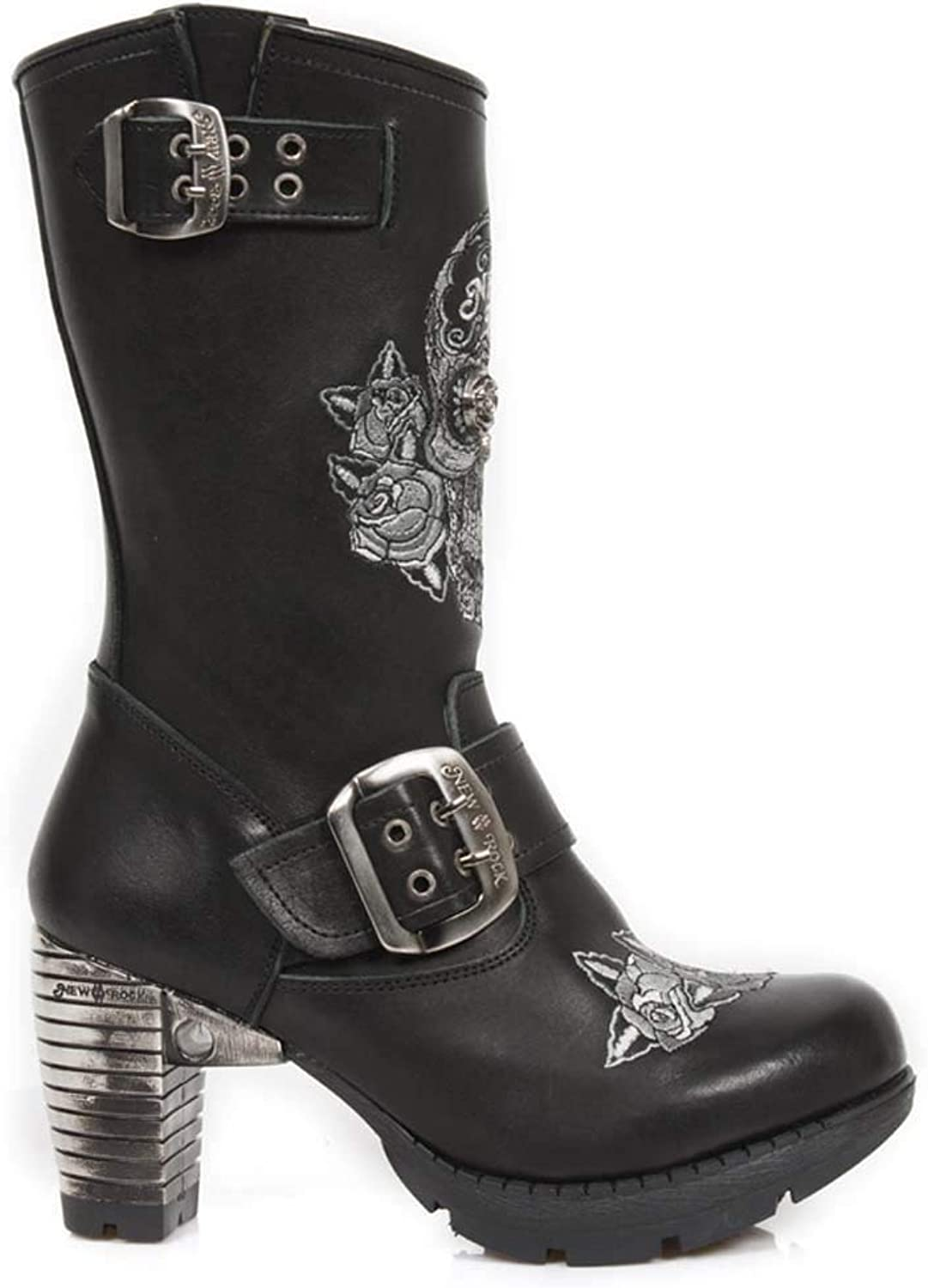 New Rock tr047-s1 Black Gothic Rock Punk Ladies Leather Boots