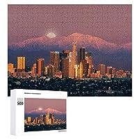 500ピース ジグソーパズル パズル 木製パズル 飾り画 ロサンゼルス 高層ビル 日の出山 参考図付き 減圧玩具 頭脳練習 創造力 知育 子供 大人 ギフト プレゼント puzzle