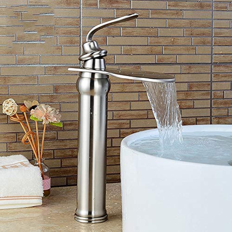 IFELGUD Waschtischarmaturen Einhand Wasserfall Auslauf Badezimmer Wasserhahn Chrom Messing Material Heien und Kalten Gold Mischbatterien