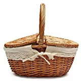 Picnic Basket, Wicker Hand Carved Wicker Hand Woven Camping Storage Basket Shopping Basket