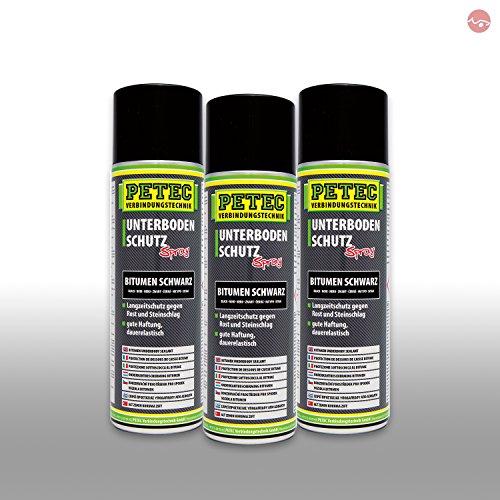 Petec_bundle 3X PETEC UNTERBODENSCHUTZ Bitumen Spray Steinschlagschutz SCHWARZ 500 ML 73150