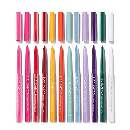12pcs Mate Gel Gel Lápiz | Conjunto de lápices de delineador de ojos de color | Liners Matte Shimmer | Duradero - impermeable - Anti-Blooming | Conjunto de maquillaje de ojos | Para mujeres chicas