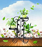 LQQGXL Iron floor living room flower rattan multi-storey indoor and outdoor simple European-style balcony green radish flower stand Flower stand
