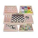 WyaengHai Halma Kindermultifunktions-Kontrolleure Holz Bildungs-Spielzeug Schach 7 In Einem Flug Halma Groß Strategiespiel (Color : True Color, Size : Free Size) -