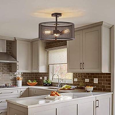 "PUSU Black Flush Mount Light Fixture for Kitchen Industrial Semi Flush Mount Ceiling Light D16.5""H10.5 Vintage Living Room Ceiling LightEdison Bulb Round Cage Farmhouse Bedroom Light Fixture"