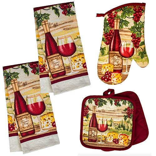 Wine Themed Kitchen Towel Set with 2 Quilted Pot Holders 2 Dish Towels and 1 Oven Mitt