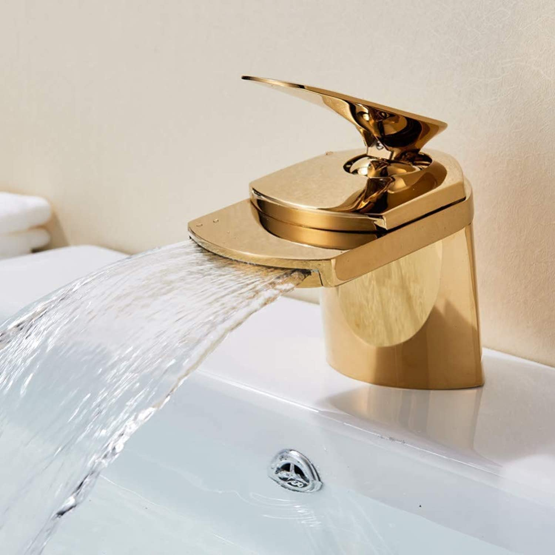 YHSGY Waschtischarmaturen Waschbecken Wasserhahn Waschbecken Wasserhahn Vanity Sink Tap Gold Finish Einhebel-Wasserfall Auslauf Deck Montiert Mischbatterie