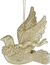 Decorations Gold Glitter Dove Bird Pendants Set of 4 pcs