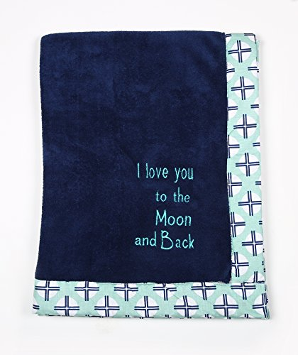 Bacati - Tribal/Aztec Plush Embroidered 30 x 40 inches Baby Blanket (Mint/Navy Love You to The Moon & Back)