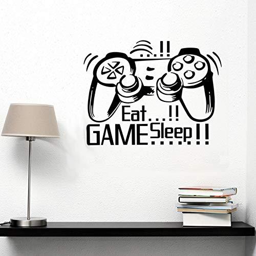 BHLTG Adesivo da Parete per Soggiorno Eat Sleep Gioco Game Boy Game Room Decorazioni per la casa Carta da Parati Decalcomania 86Cm * 53Cm