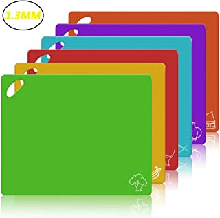 Flexible Cutting Board CHIENTUNG Cutting Mats Plastic Chopping Mats Sheets for Kitchen Dishwasher Safe, Food Icons & Easy-Grip Handles, BPA-Free, Non-Porous(Set of 6)