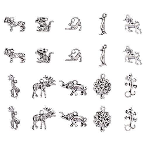 PandaHall Elite 30 PZ 10 Stile ciondoli pendanti Charms in Lega di Argento Antico Tibetano Animali Gatto Unicorno Tipo Misto per Braccialetti collane bigiotteria Fai da Te