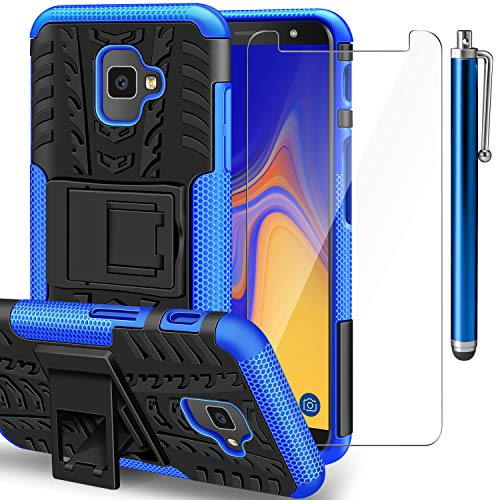 AROYI Samsung Galaxy J4 Plus Hülle+ Panzerglas, Galaxy J6 Plus TPU Series Dual Layer Hybrid Handyhülle Drop Resistance Handys Schutz Hülle mit Ständer für Samsung Galaxy J4 Plus/J6 Plus Blau