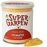 Super Garden tomate liofilizado en polvo - Producto 100% puro y natural - Apto para veganos - Sin azúcares, aditivos artificiales ni conservantes añadidos - Sin gluten - No OMG